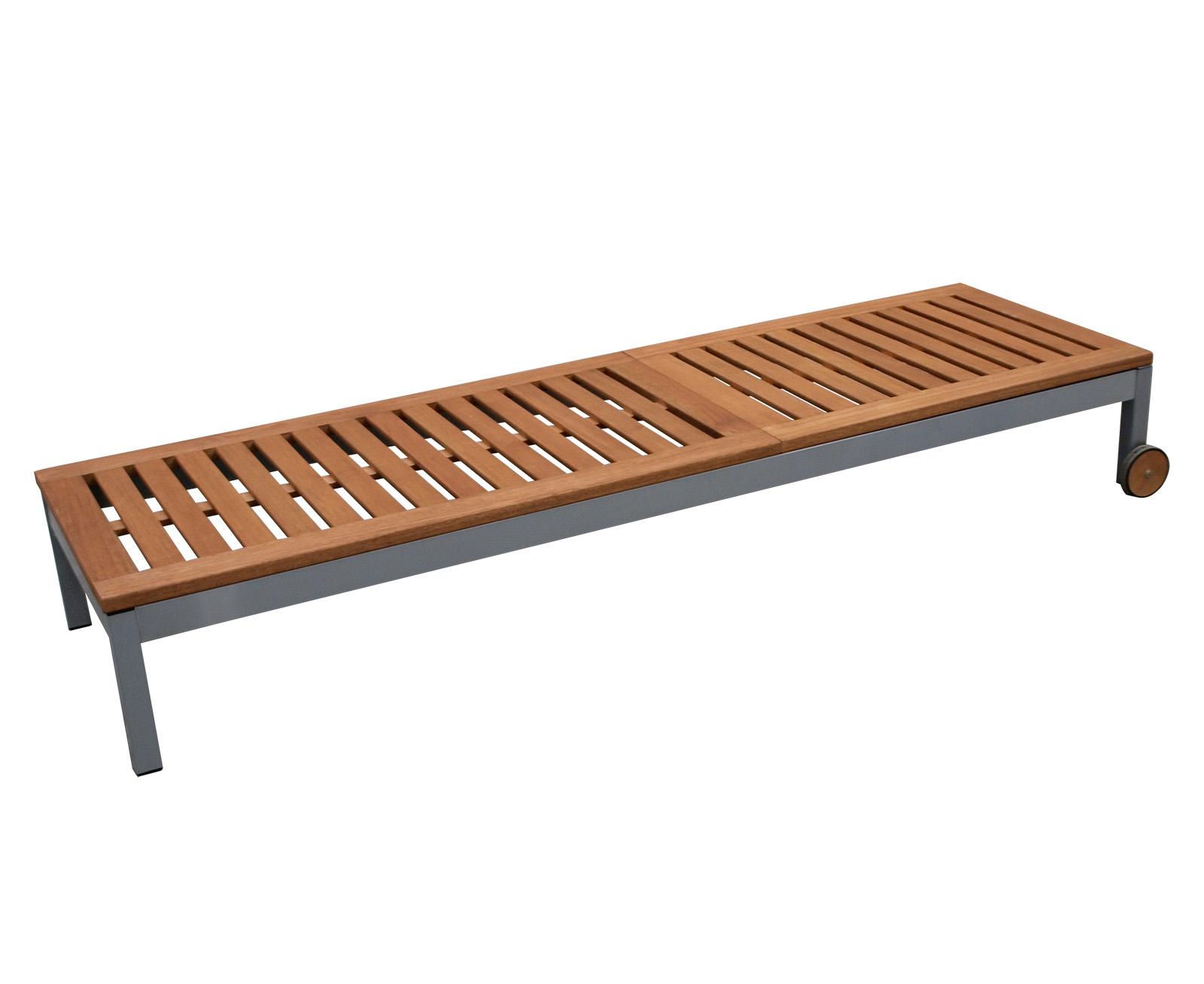 sonnenliege rollenliege gartenliege liege santiago metall eukalyptus 2 wahl ebay. Black Bedroom Furniture Sets. Home Design Ideas