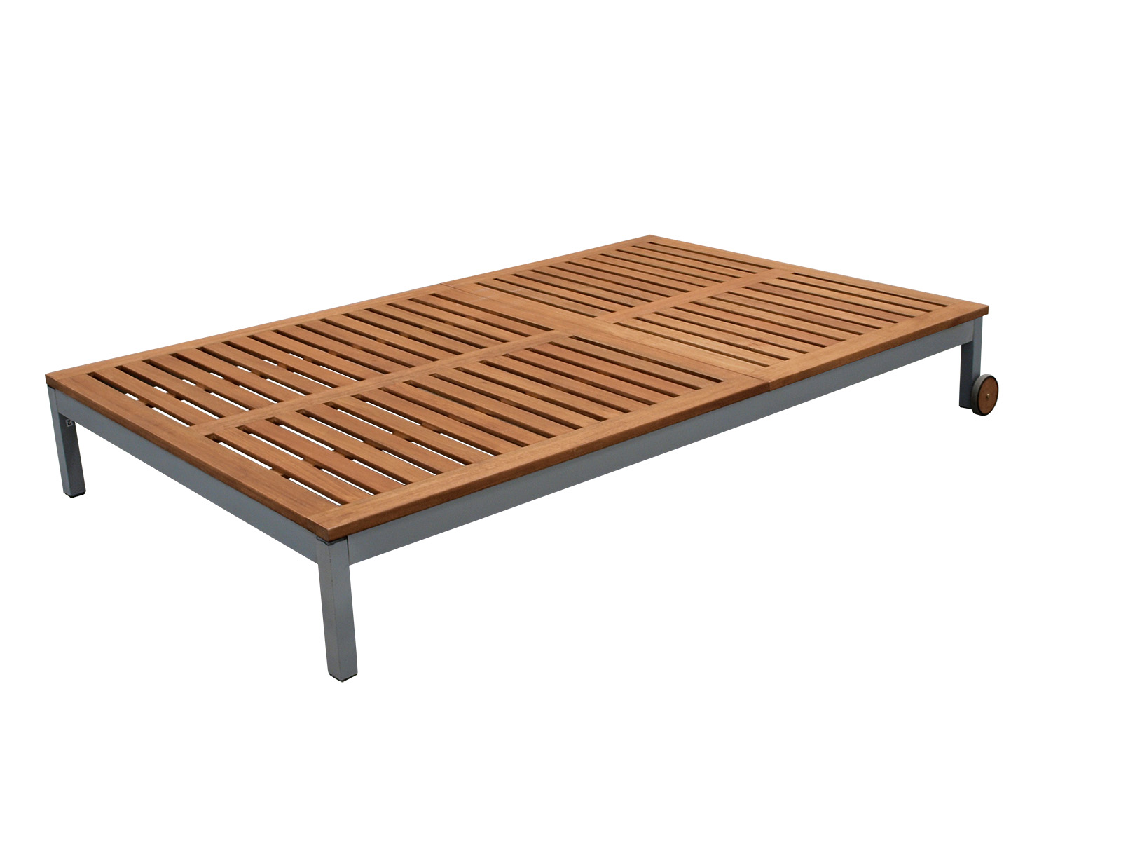doppel sonnenliege rollenliege doppelliege santiago metall eukalyptus 2 wahl ebay. Black Bedroom Furniture Sets. Home Design Ideas