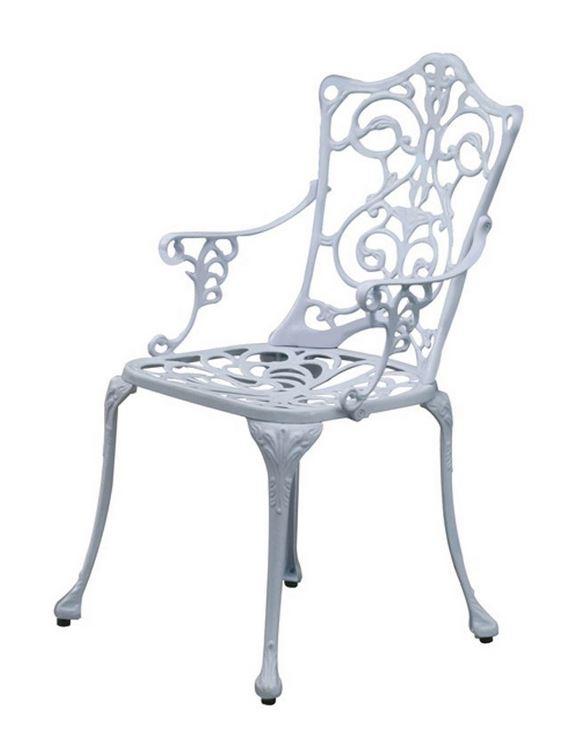 klassischer sessel lugano alu aluguss aluminium weiss jungendstil optik ebay. Black Bedroom Furniture Sets. Home Design Ideas