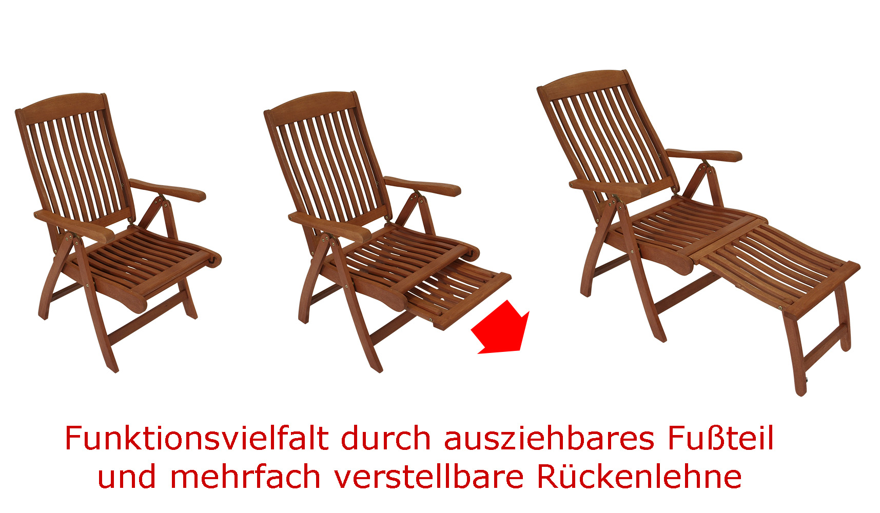 funktions klappsessel mit fussteil deckchair maracaibo eukalyptus fsc zert ebay. Black Bedroom Furniture Sets. Home Design Ideas