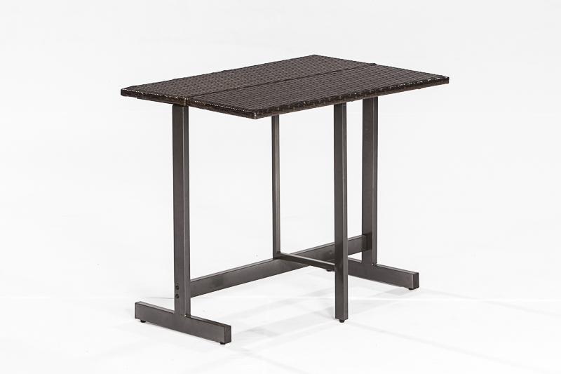 klappentisch klapptisch saronno 90x60cm stahlgestell polyrattan geflecht braun ebay. Black Bedroom Furniture Sets. Home Design Ideas