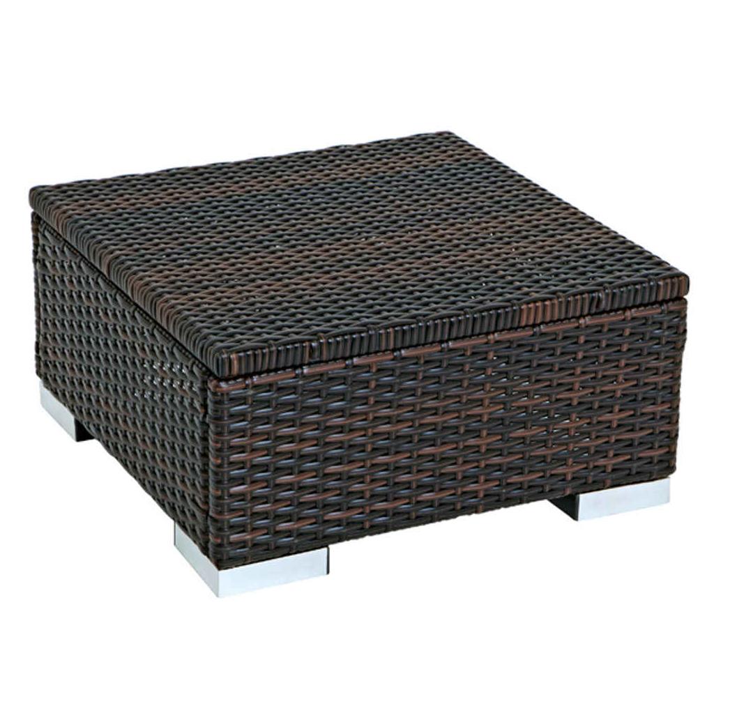 sch ner hocker beistelltisch sorrento 50x50cm stahl geflecht braun. Black Bedroom Furniture Sets. Home Design Ideas
