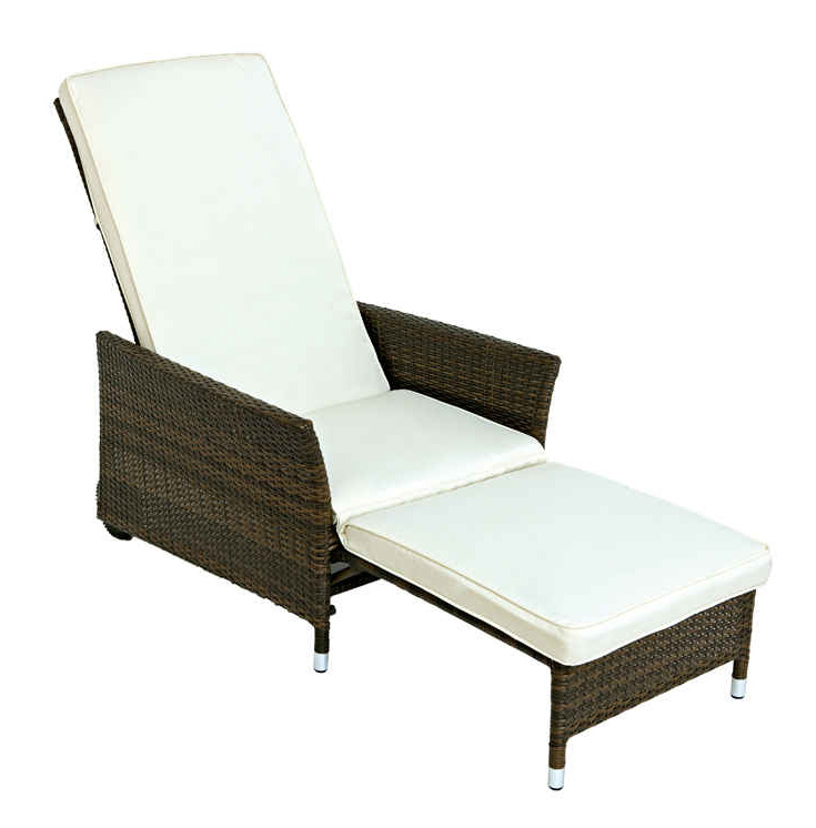 eleganter deckchair sorrento m fussteil polyrattan braun und auflagen creme ebay. Black Bedroom Furniture Sets. Home Design Ideas