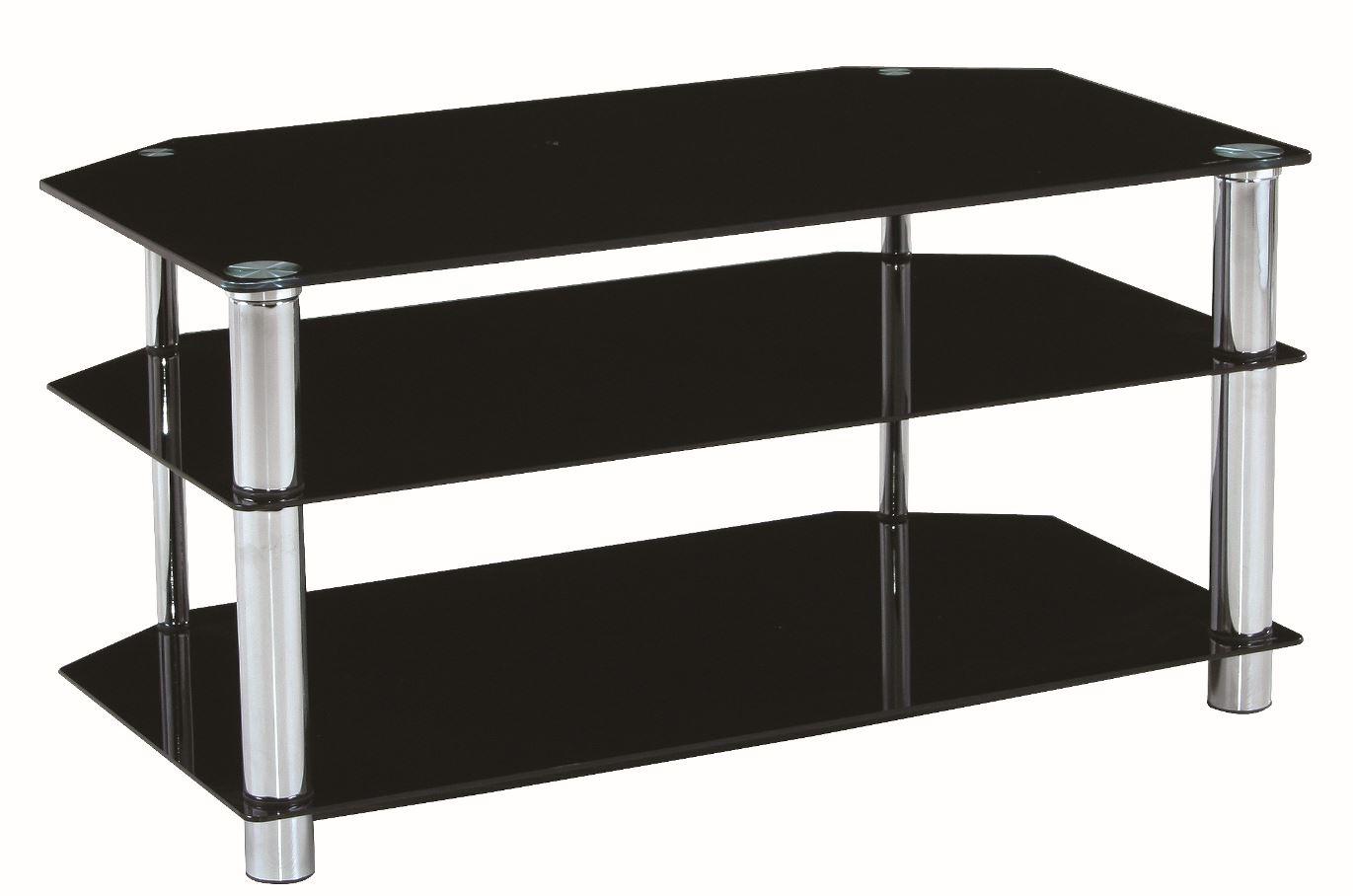 hochwertiger tv tisch tv rack fernsehtisch manhattan 90x50x45cm glas schwarz ebay. Black Bedroom Furniture Sets. Home Design Ideas