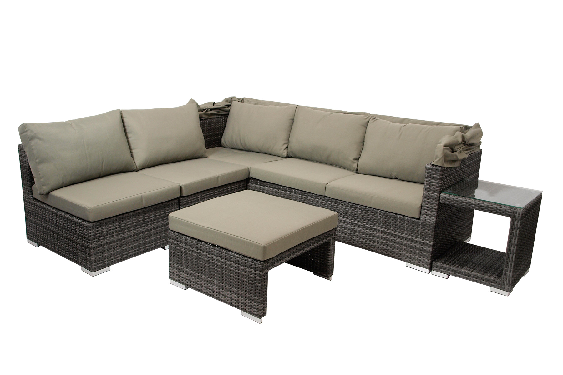 loungeset funktions lounge set sofaset manacor 16 teilig alu polyrattan grau ebay. Black Bedroom Furniture Sets. Home Design Ideas