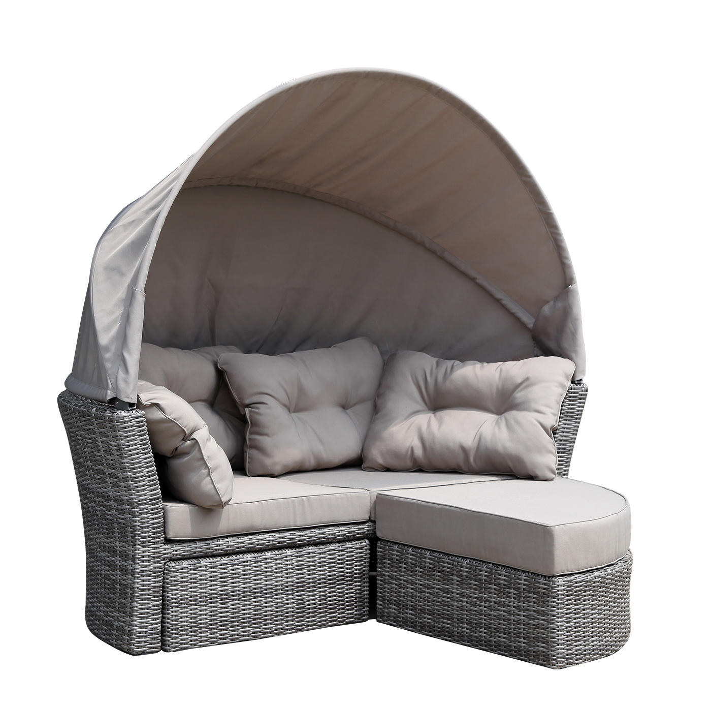liegeinsel sonneninsel liegemuschel liegesofa marbella 200x187cm rattan grau ebay. Black Bedroom Furniture Sets. Home Design Ideas
