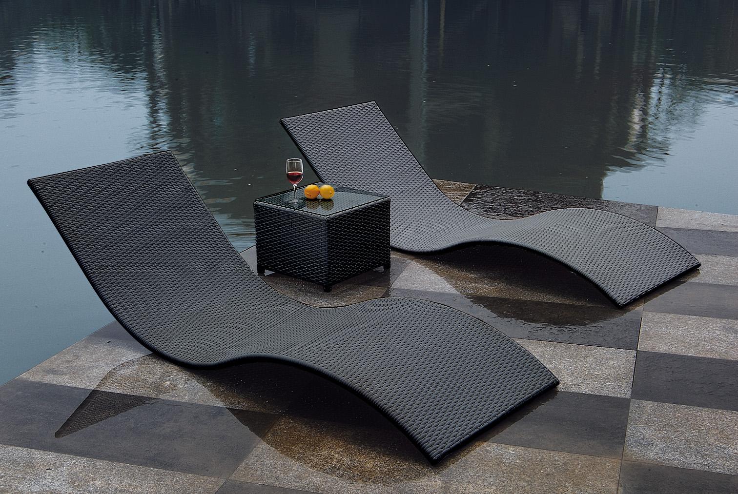 gartenliege liegenset 3 teilig mit tisch sonnenliegen set calypso rattan grau ebay. Black Bedroom Furniture Sets. Home Design Ideas