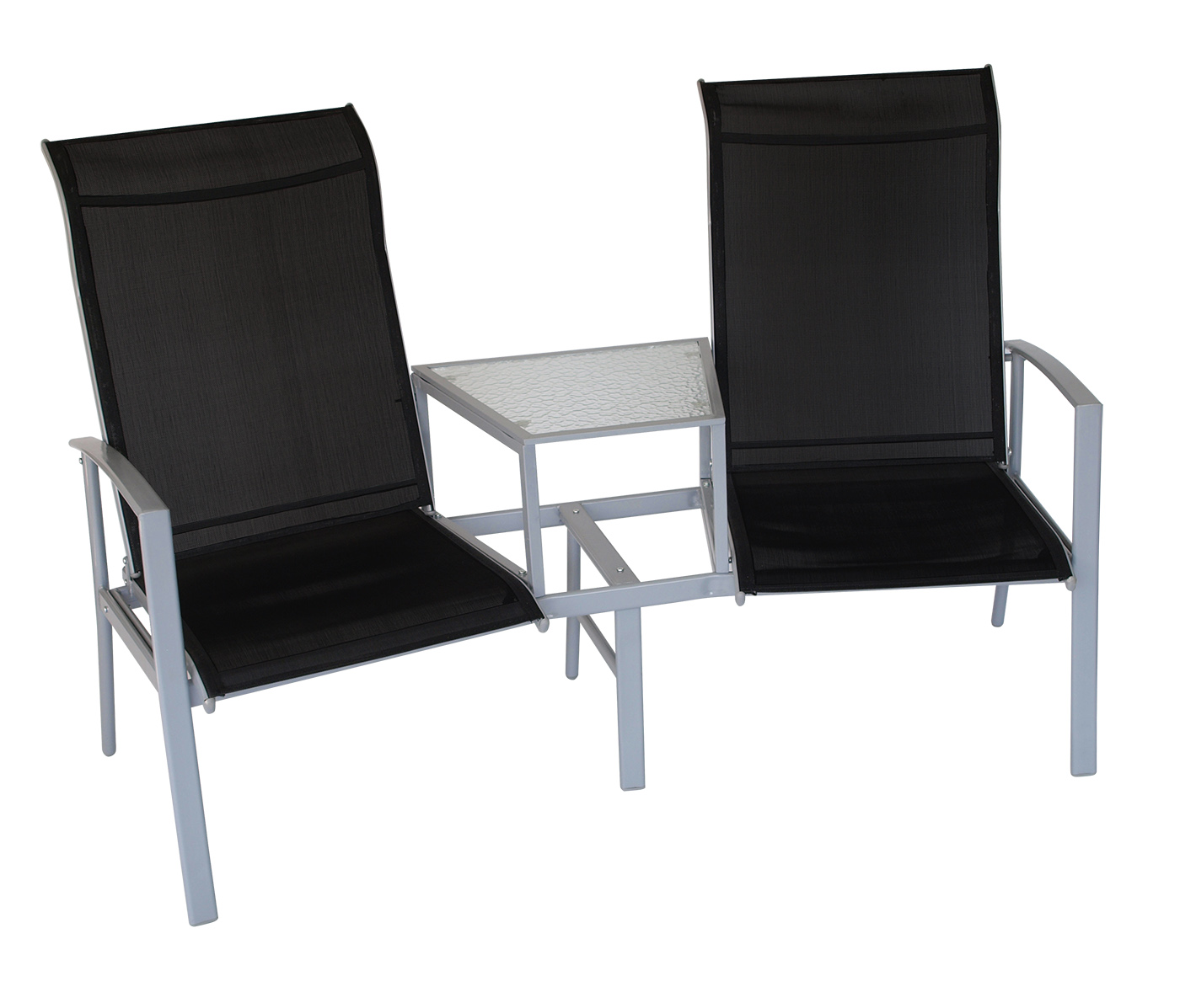 tete a tete bank gartenbank meran 2 sitz metall texilgewebe schwarz 2 wahl ebay. Black Bedroom Furniture Sets. Home Design Ideas