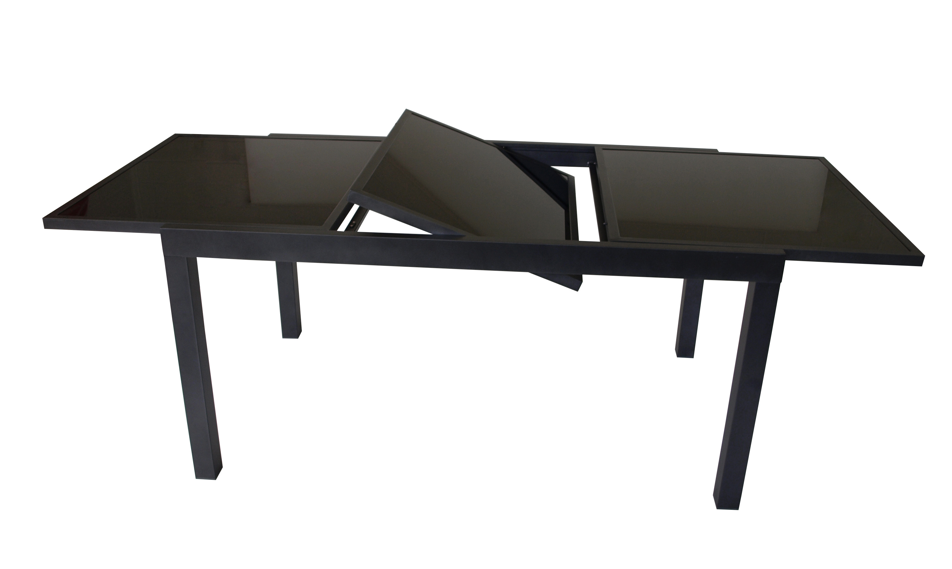 xxl ausziehtisch alutisch torino aus alu glas grau schwarz 150 210x90cm ebay. Black Bedroom Furniture Sets. Home Design Ideas