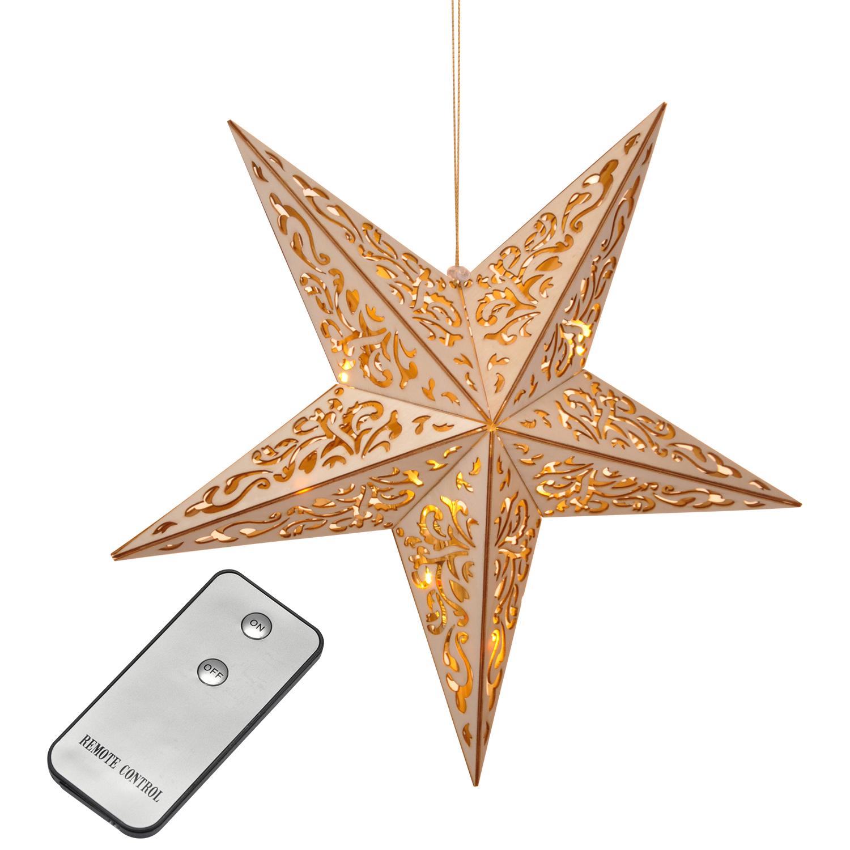 holzstern leuchtstern weihnachtsstern stern 40cm mit 10 led und fernbedienung. Black Bedroom Furniture Sets. Home Design Ideas