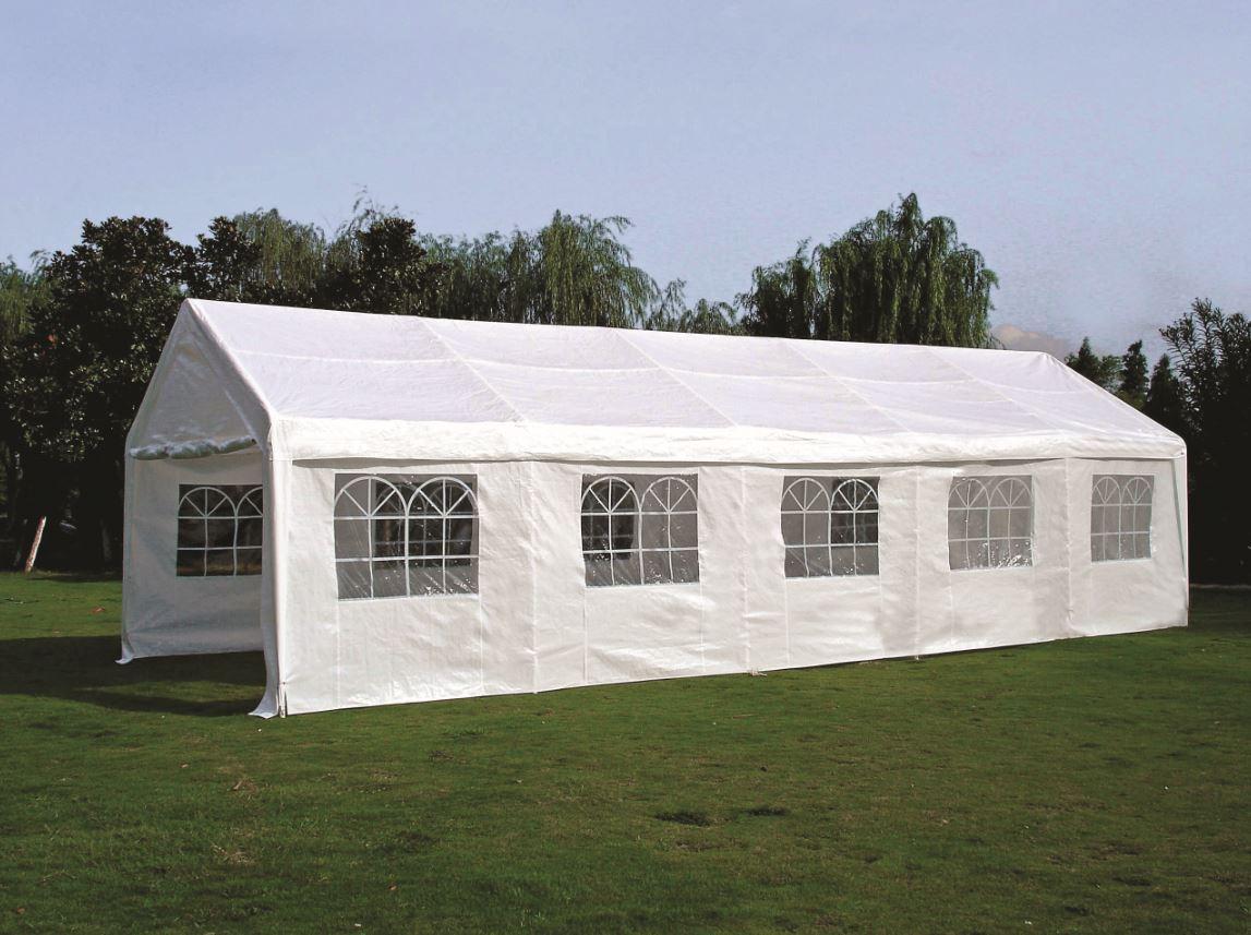zelt pavillon partyzelt 10x4 meter pe wei fenster ebay. Black Bedroom Furniture Sets. Home Design Ideas
