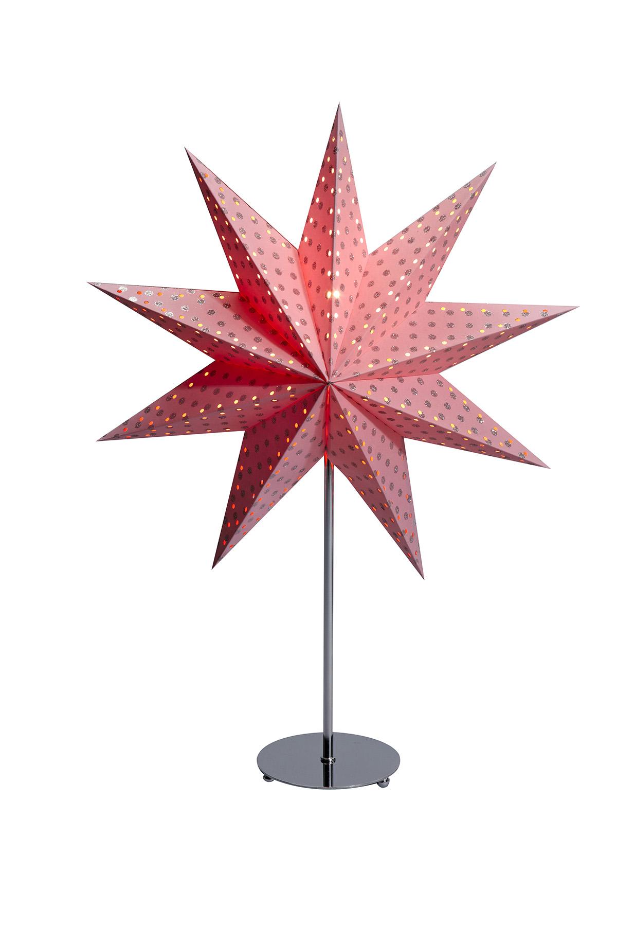 beleuchteter dekostern weihnachtsstern gr fsn s mit st nder aus stahl 66cm ros ebay. Black Bedroom Furniture Sets. Home Design Ideas