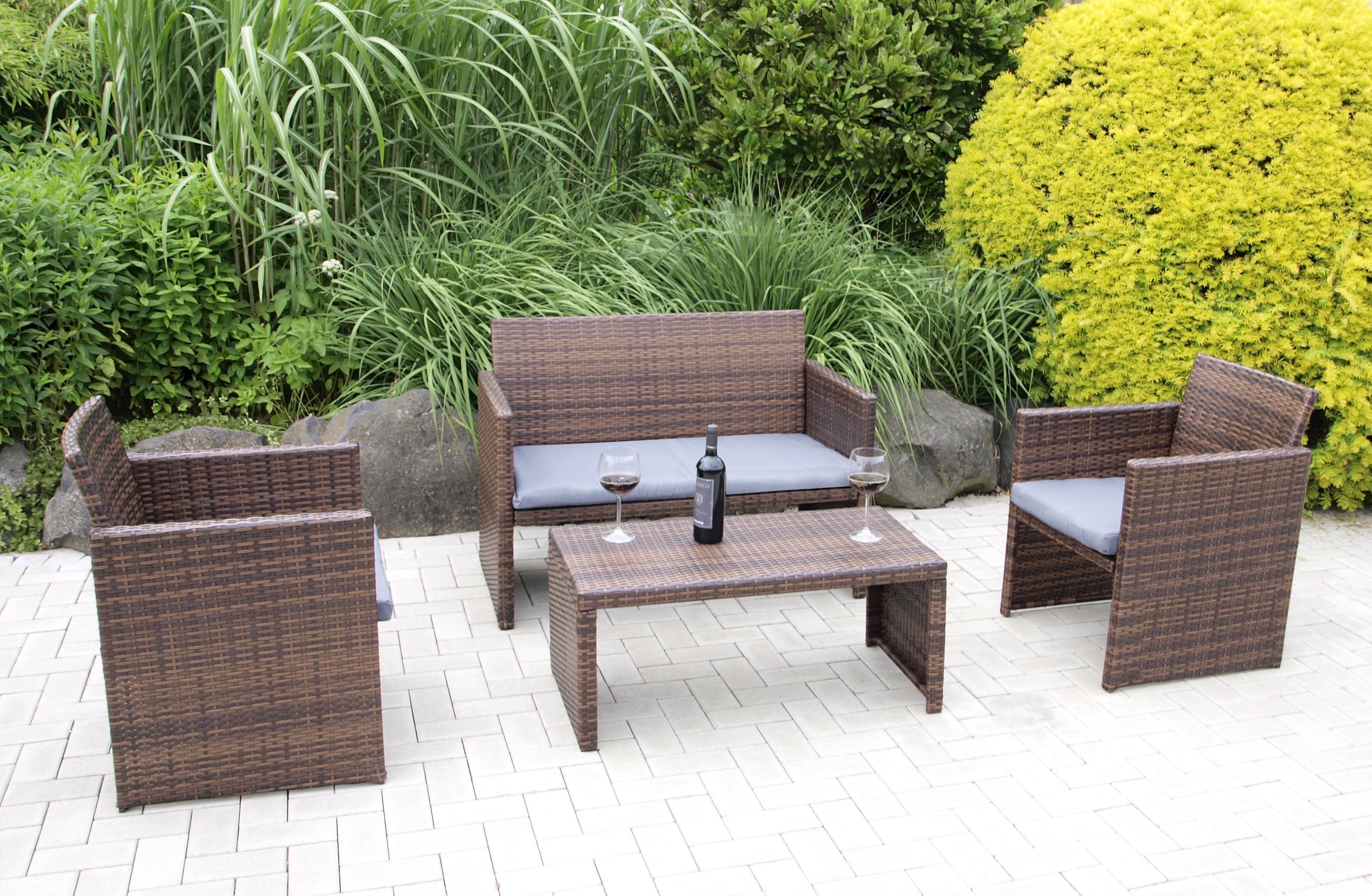 Lounge garnitur loungeset portofino stahl polyrattan for Polyrattan lounge set grau