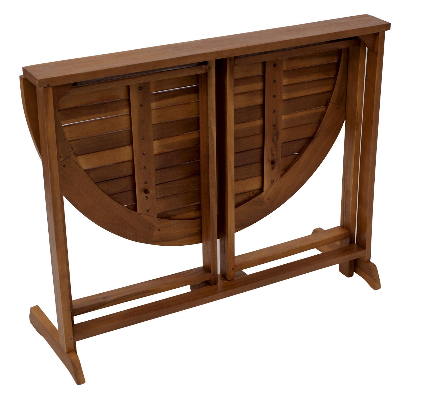 klappentisch klapptisch balkontisch halbrund aus akazienholz 90x60cm ge lt ebay. Black Bedroom Furniture Sets. Home Design Ideas