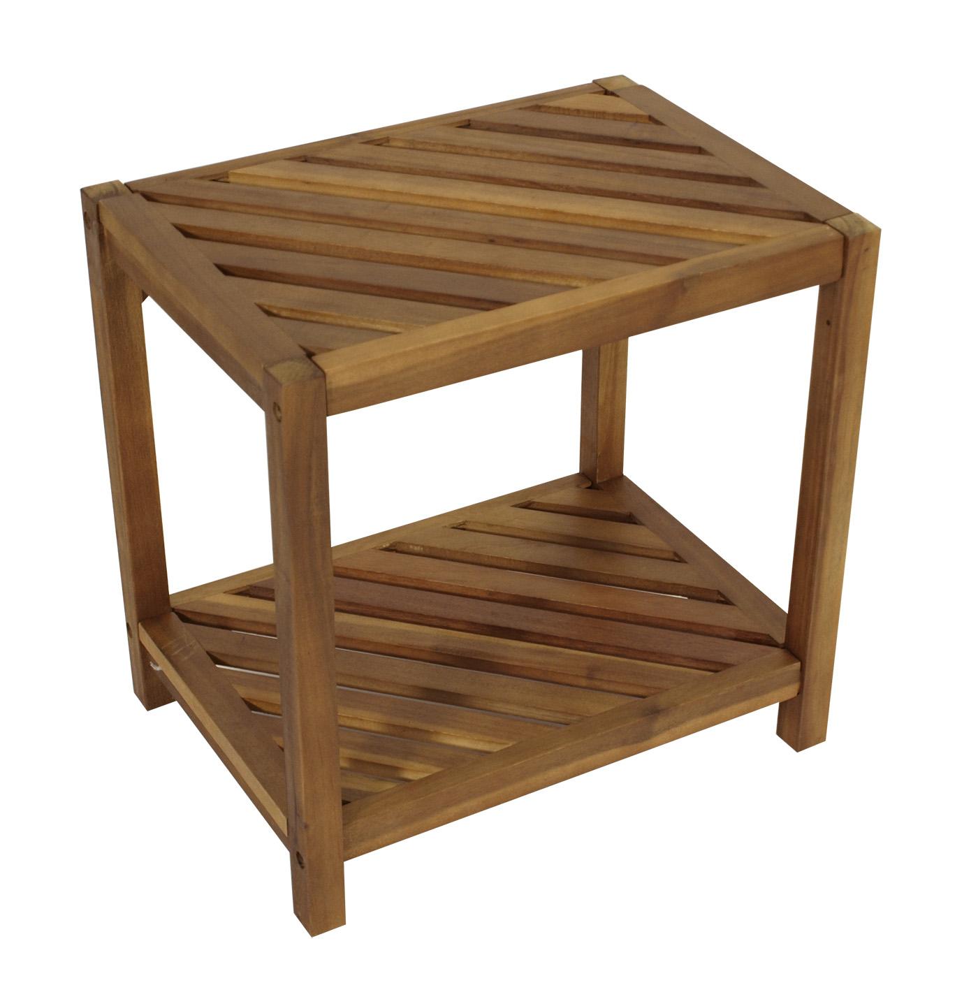 beistelltisch regal holzregal tobago 45x32x45cm akazie innen aussen fsc zert ebay. Black Bedroom Furniture Sets. Home Design Ideas