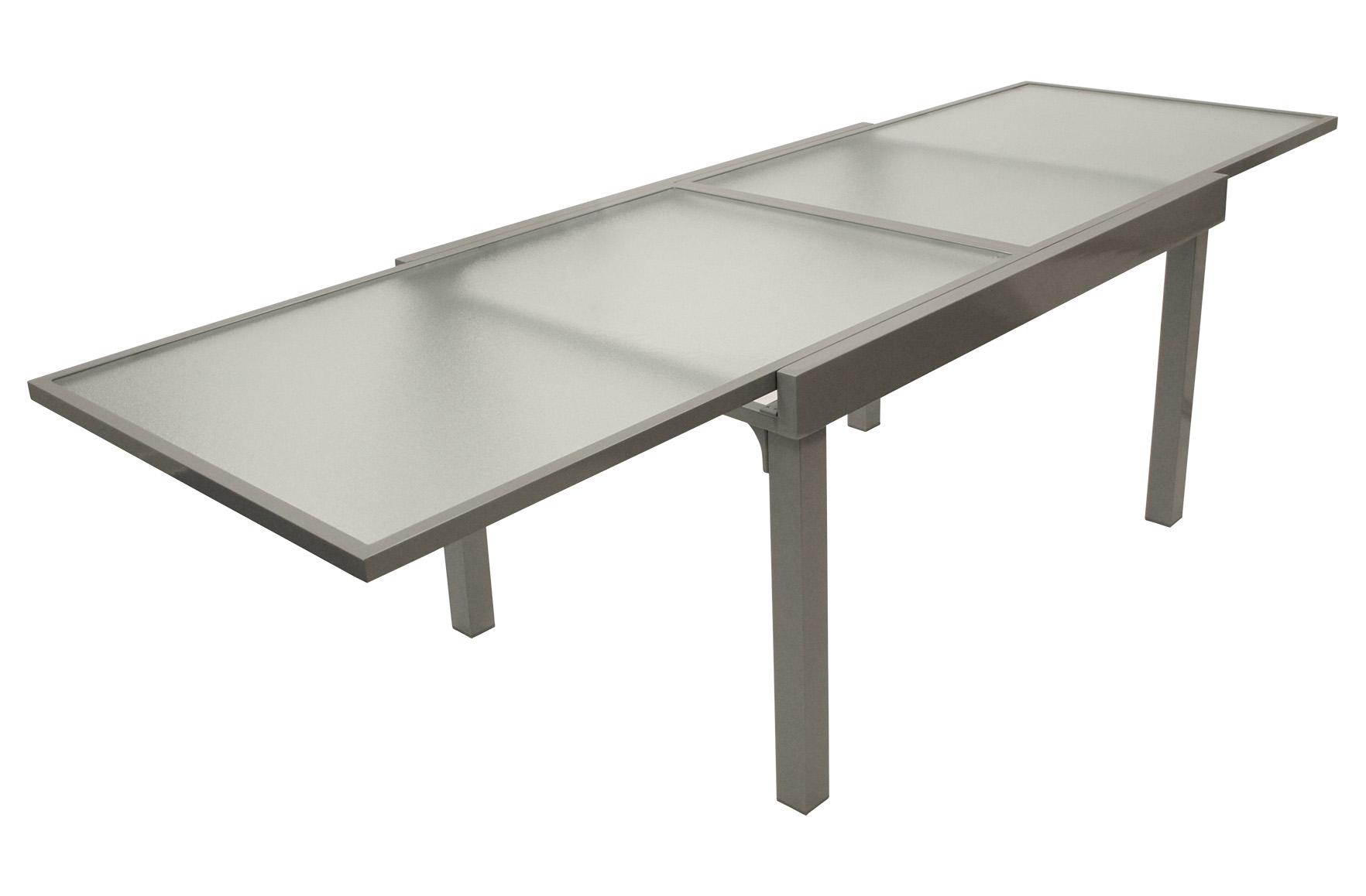Gartentisch Ausziehtisch Gartenmöbel Tisch Glastisch AMALFI Alu Glas, 90x270cm