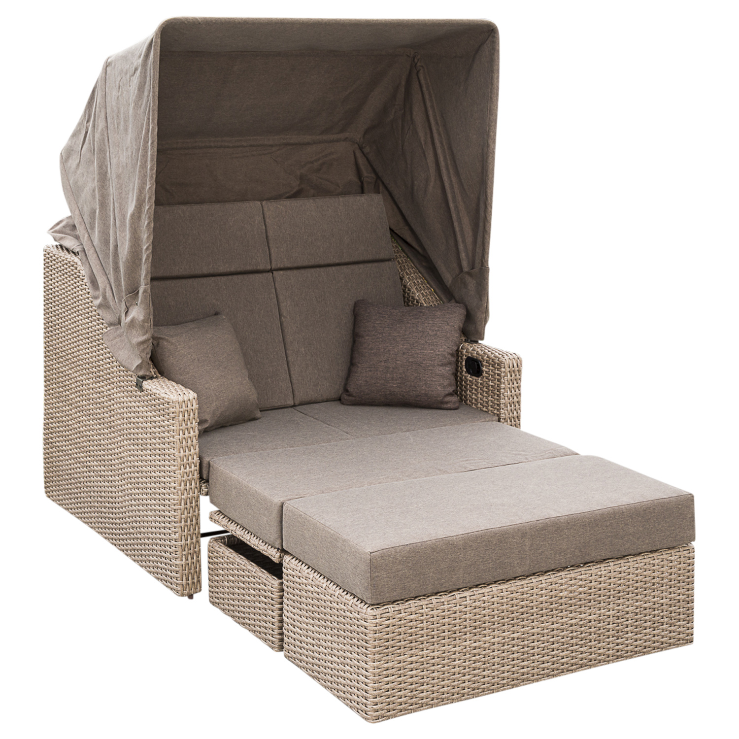 gartenliege gartensofa doppelliege gartenm bel liegen rimini rattan naturfarben ebay. Black Bedroom Furniture Sets. Home Design Ideas