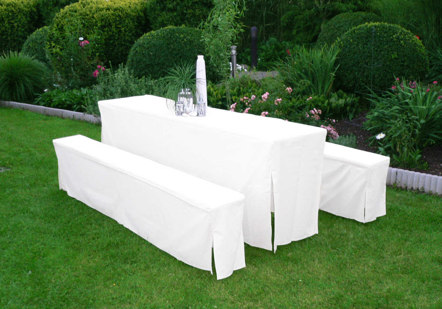 bierbankhussen hussen festzeltgarnitur bierzeltgarnitur hussenset 50cm weiss 4050747202300 ebay. Black Bedroom Furniture Sets. Home Design Ideas