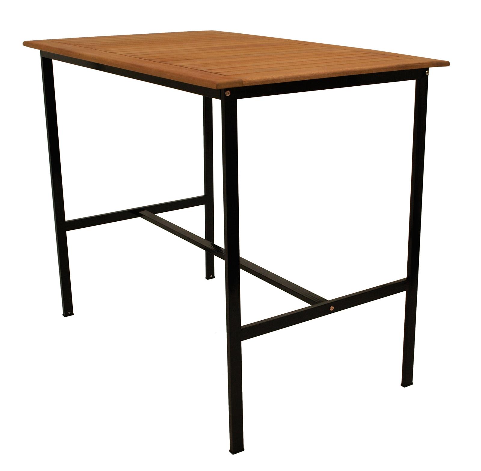 stehtisch bar tisch bartisch partytisch darwin 135x85cm metall schwarz holz ebay. Black Bedroom Furniture Sets. Home Design Ideas