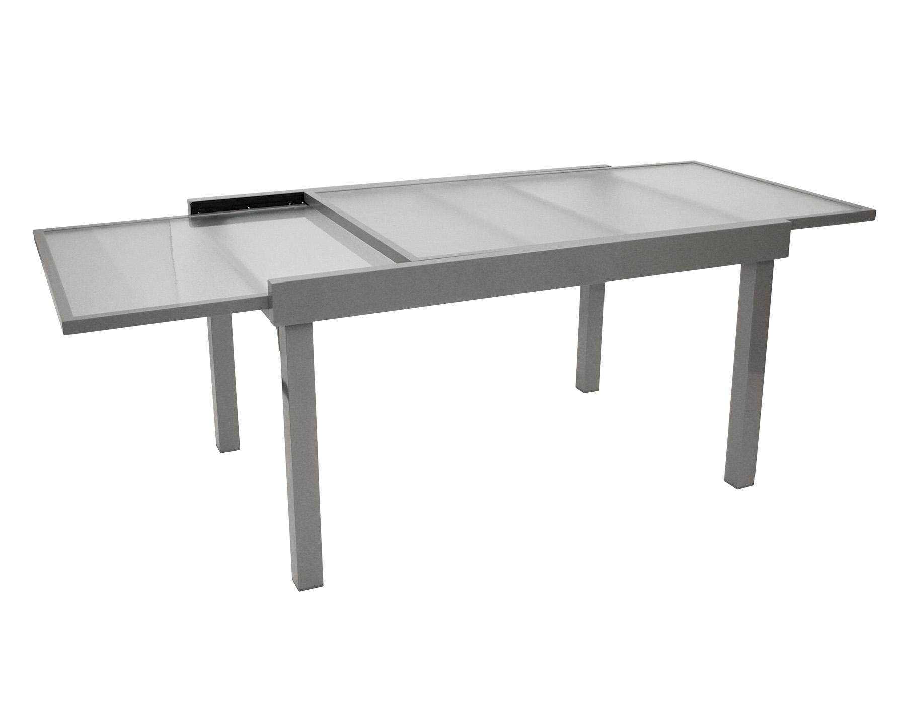 Ausziehtisch AMALFI 135/270x90cm, Aluminium + Glas