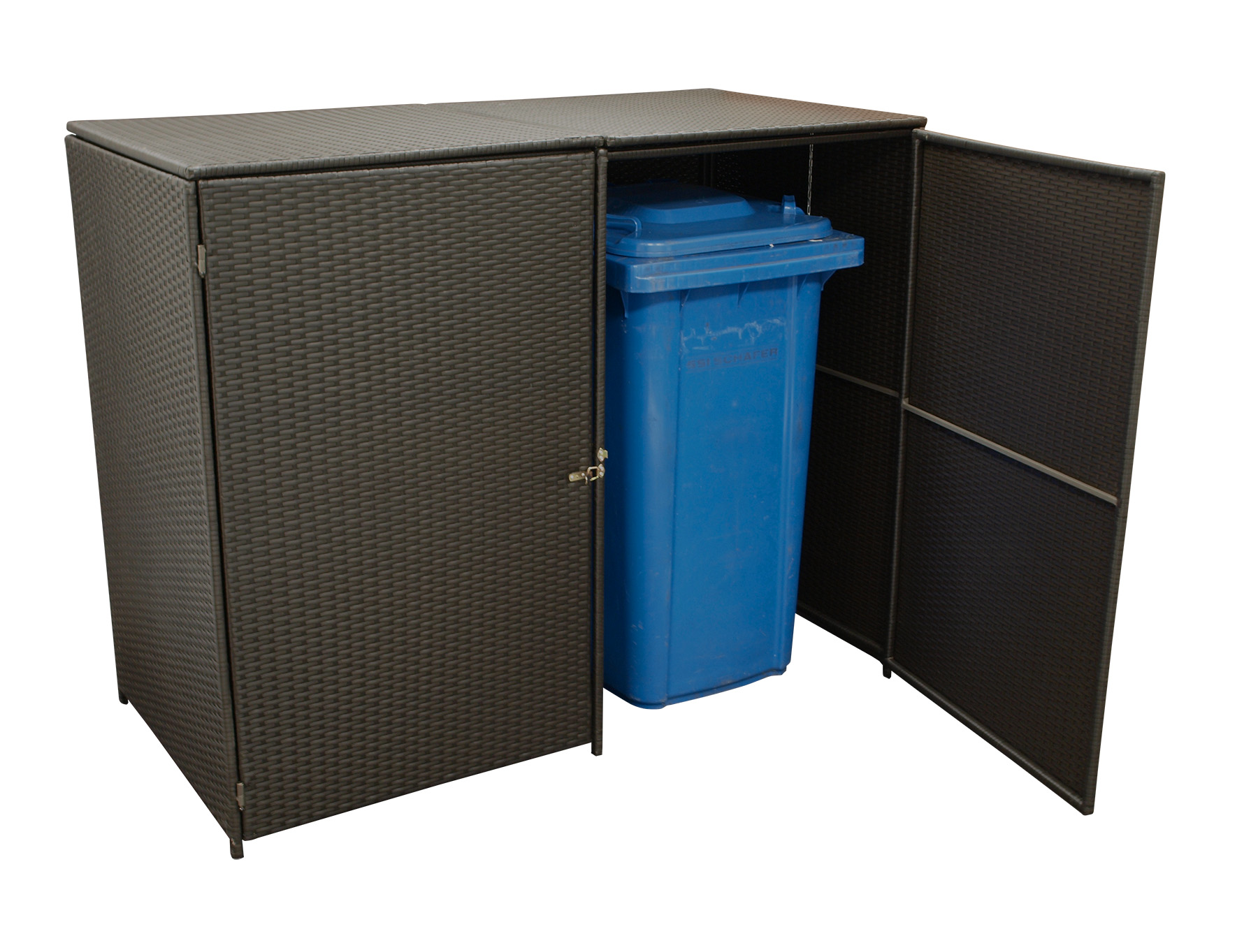 m lltonnenbox m lltonnenhaus box 2 er klein 120 liter 129x66x109cm rattan braun ebay. Black Bedroom Furniture Sets. Home Design Ideas