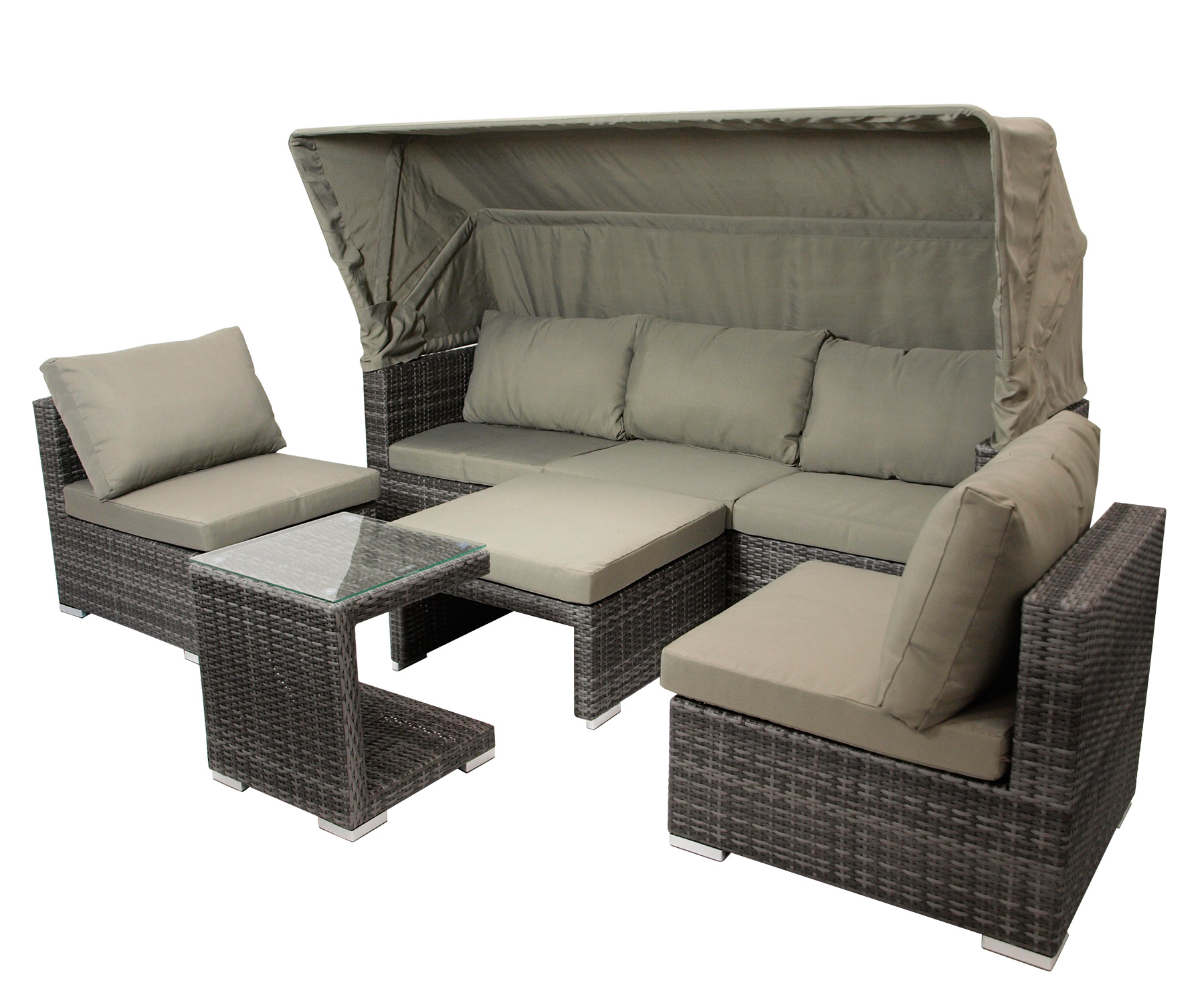 loungeset sitzgruppe liegeinsel gartenm bel liege lounge manacor alu rattan grau ebay. Black Bedroom Furniture Sets. Home Design Ideas