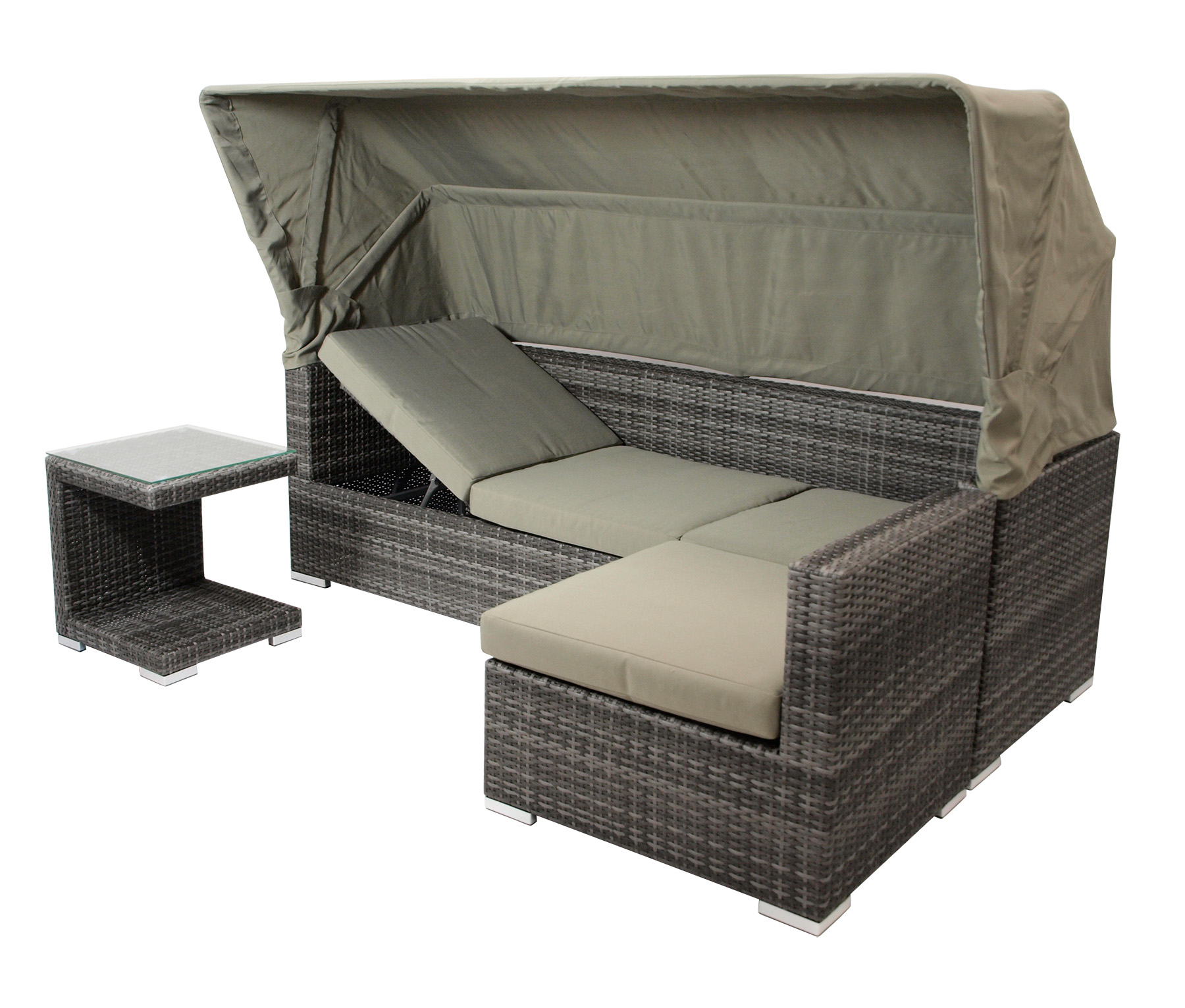 loungeset sitzgruppe liege gartenm bel lounge manacor alu rattan grau 2 wahl ebay. Black Bedroom Furniture Sets. Home Design Ideas