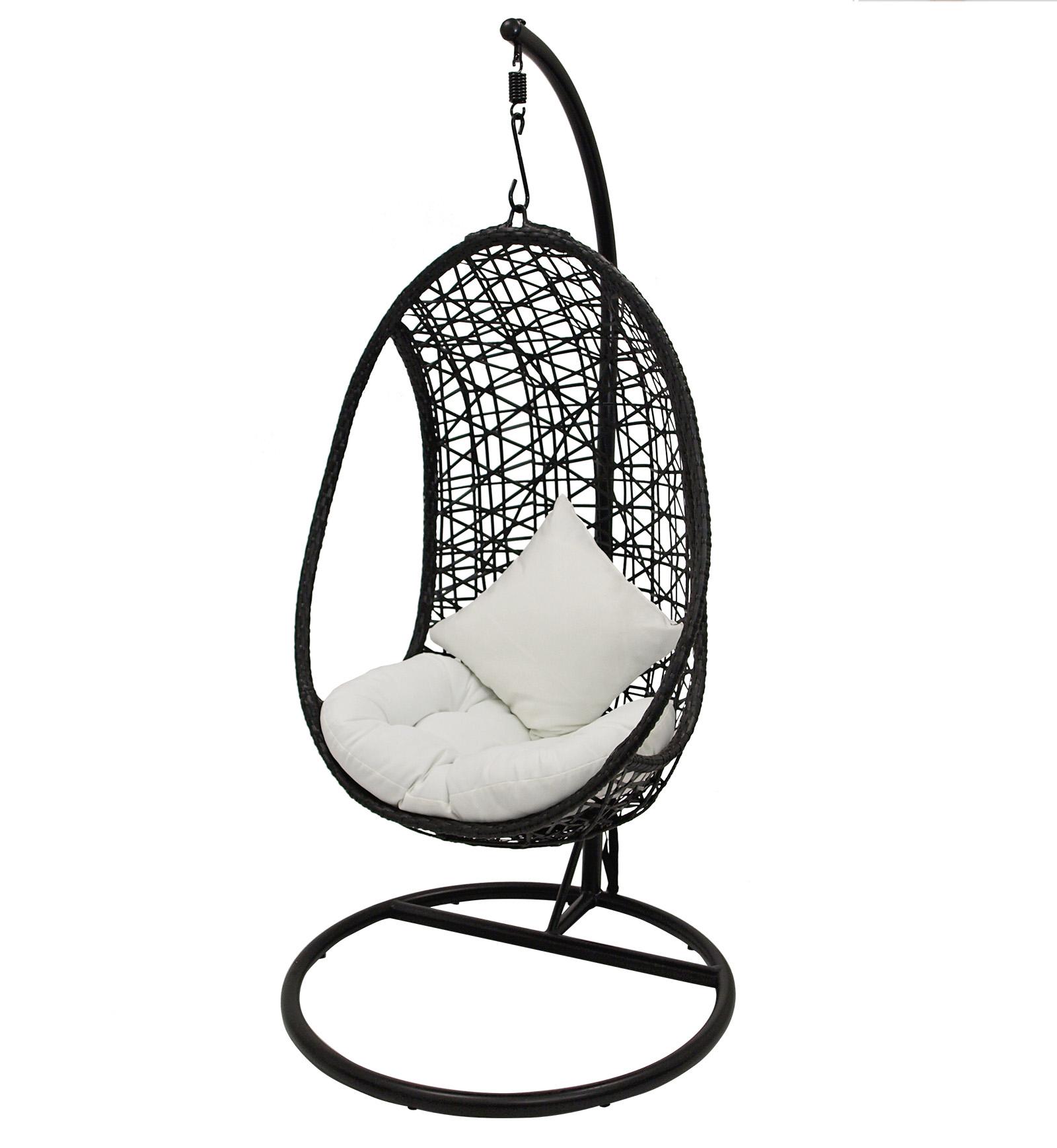 h ngekorb h ngesessel h ngesitz inca metall geflecht schwarz mit polstern ebay. Black Bedroom Furniture Sets. Home Design Ideas