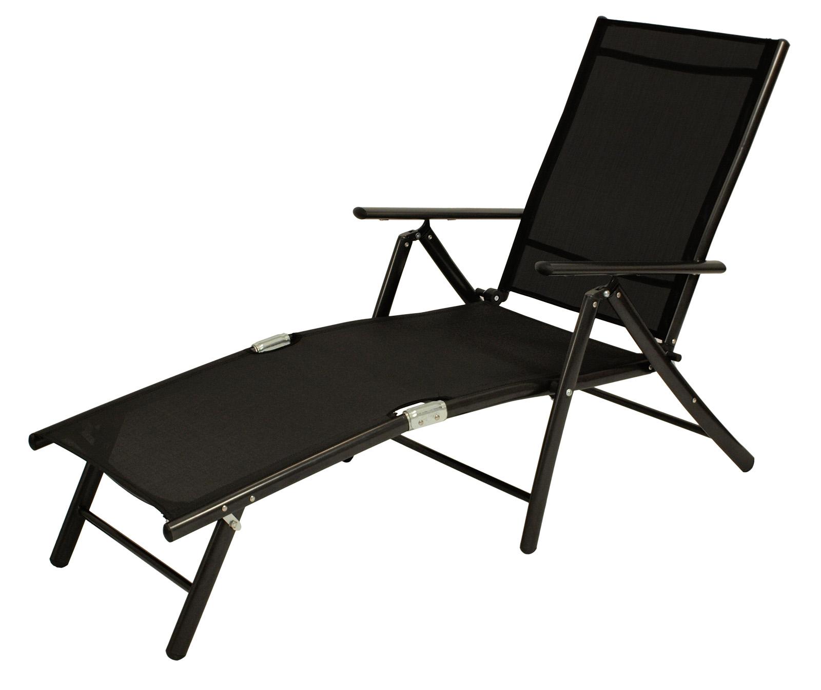 sonnenliege deckchair l beck aus alu metall schwarz gewebe schwarz 2 wahl ebay. Black Bedroom Furniture Sets. Home Design Ideas