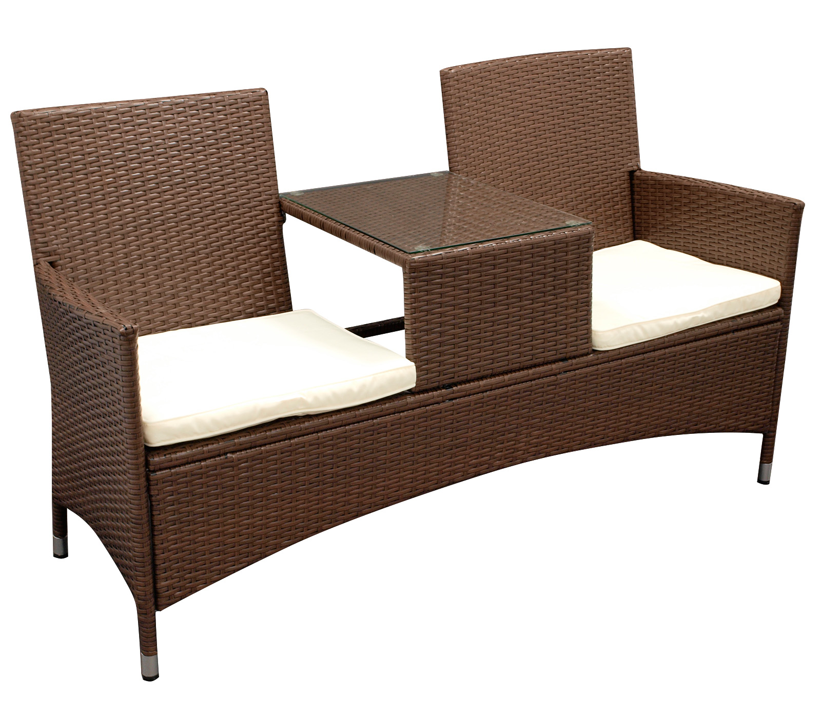 gartenbank rattanbank mit tisch gartenm bel bank san vincenzo polyrattan braun ebay. Black Bedroom Furniture Sets. Home Design Ideas