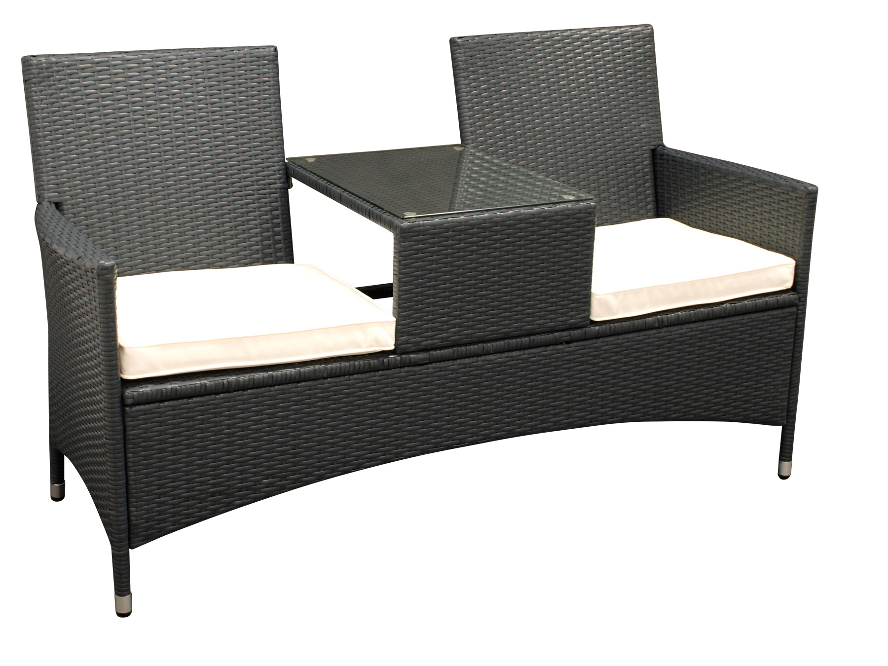 gartenbank rattanbank mit tisch gartenm bel bank san vincenzo rattan grau ebay. Black Bedroom Furniture Sets. Home Design Ideas