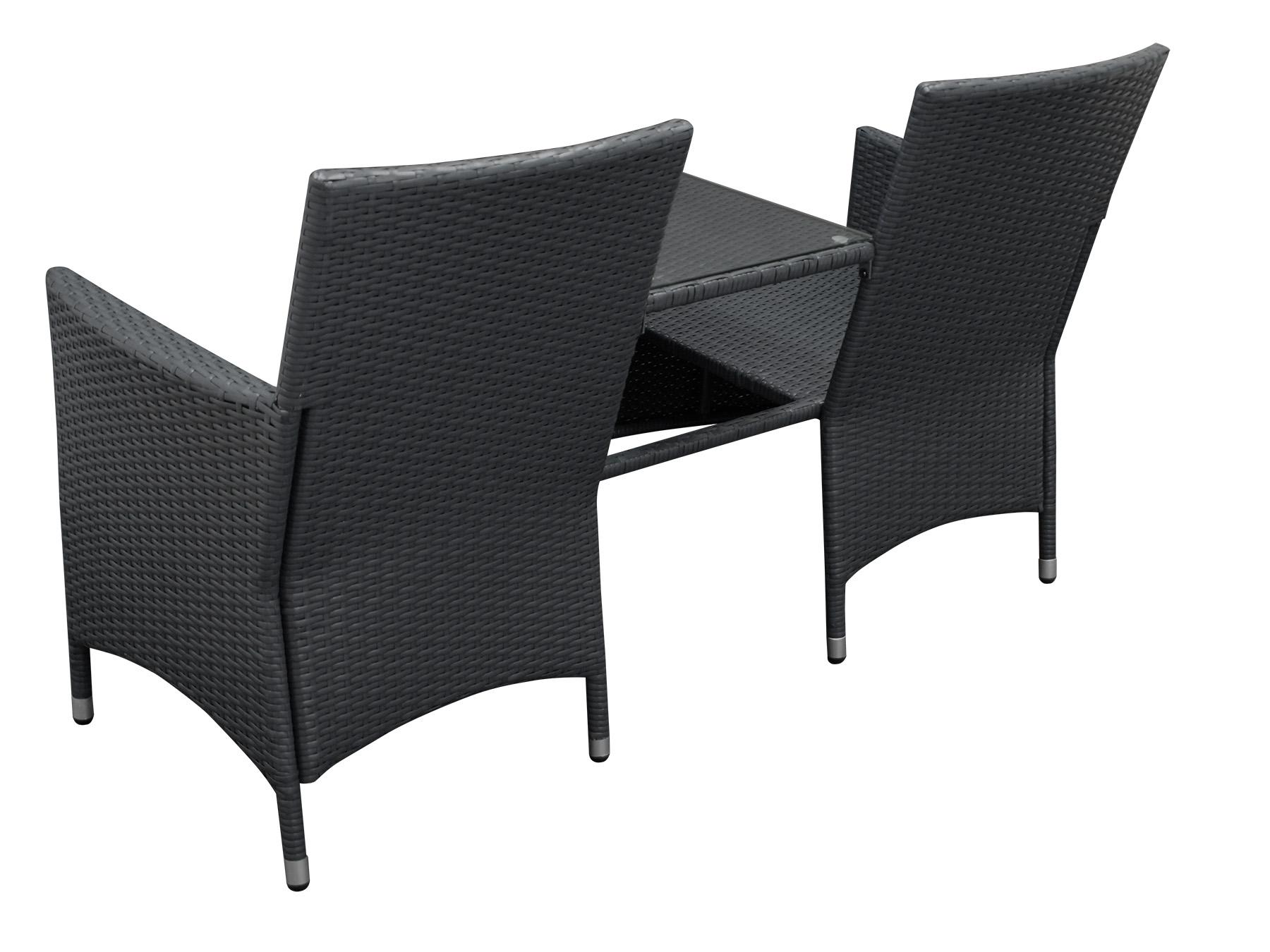 gartenbank rattanbank mit tisch gartenm bel bank san vincenzo rattan grau ebay. Black Bedroom Furniture Sets. Home Design Ideas