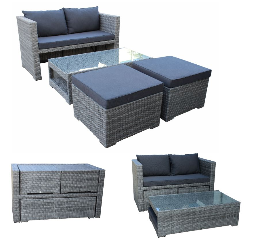 loungeset gartenm bel garnitur rattangarnitur sitzgruppe fiorino geflecht grau ebay. Black Bedroom Furniture Sets. Home Design Ideas