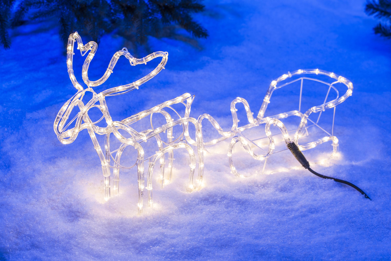 rentier mit schlitten weihnachten beleuchtet weihachtsdeko au en 95cm 168led ebay. Black Bedroom Furniture Sets. Home Design Ideas