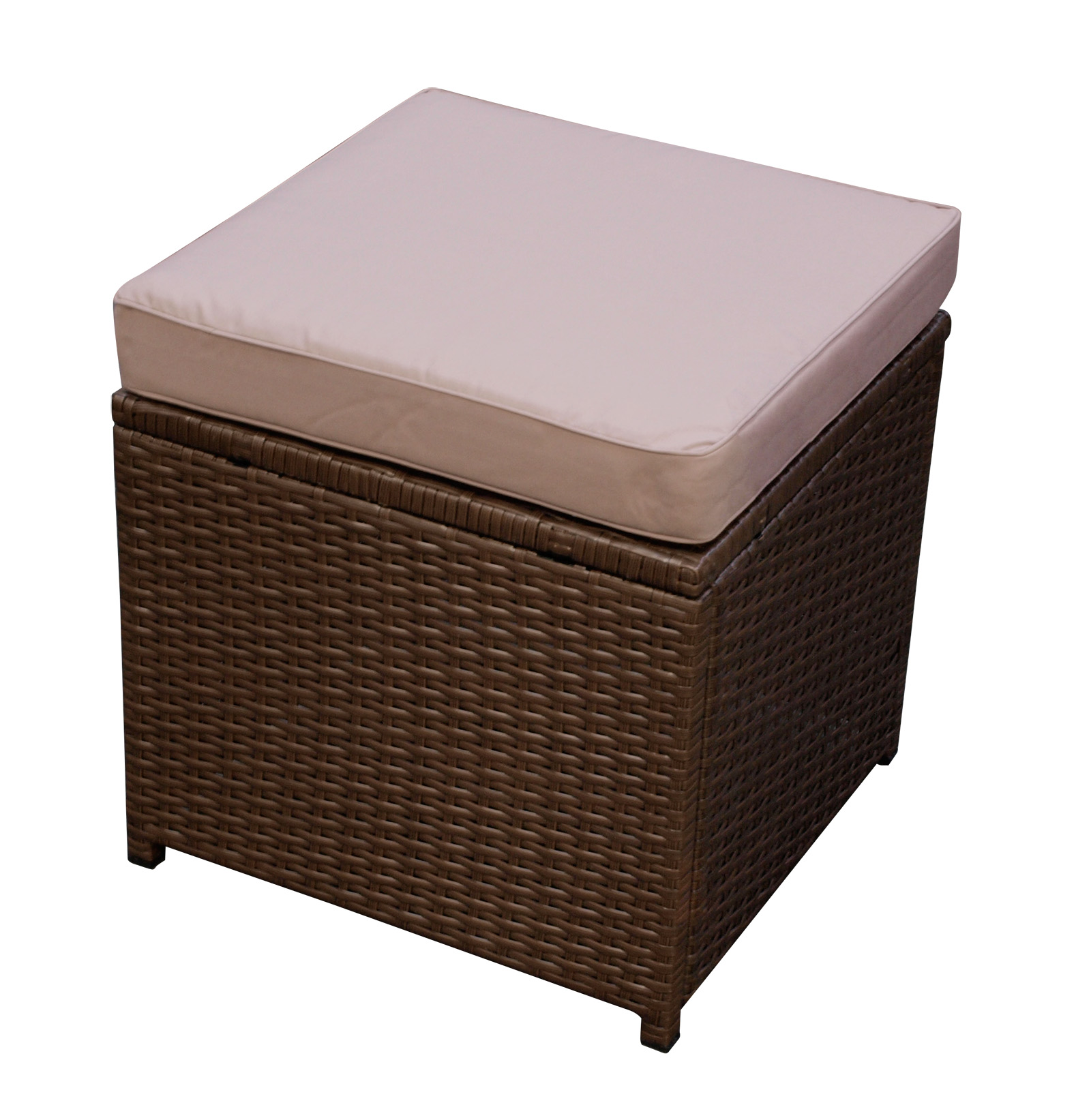hocker gartenhocker gartenm bel sitzhocker messina rattan braun mit polster ebay. Black Bedroom Furniture Sets. Home Design Ideas