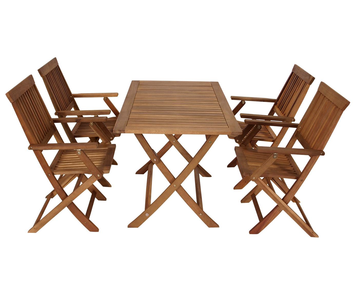 gartengarnitur sitzgruppe klappgarnitur gartenm bel set tobago 5 teilig akazie ebay. Black Bedroom Furniture Sets. Home Design Ideas
