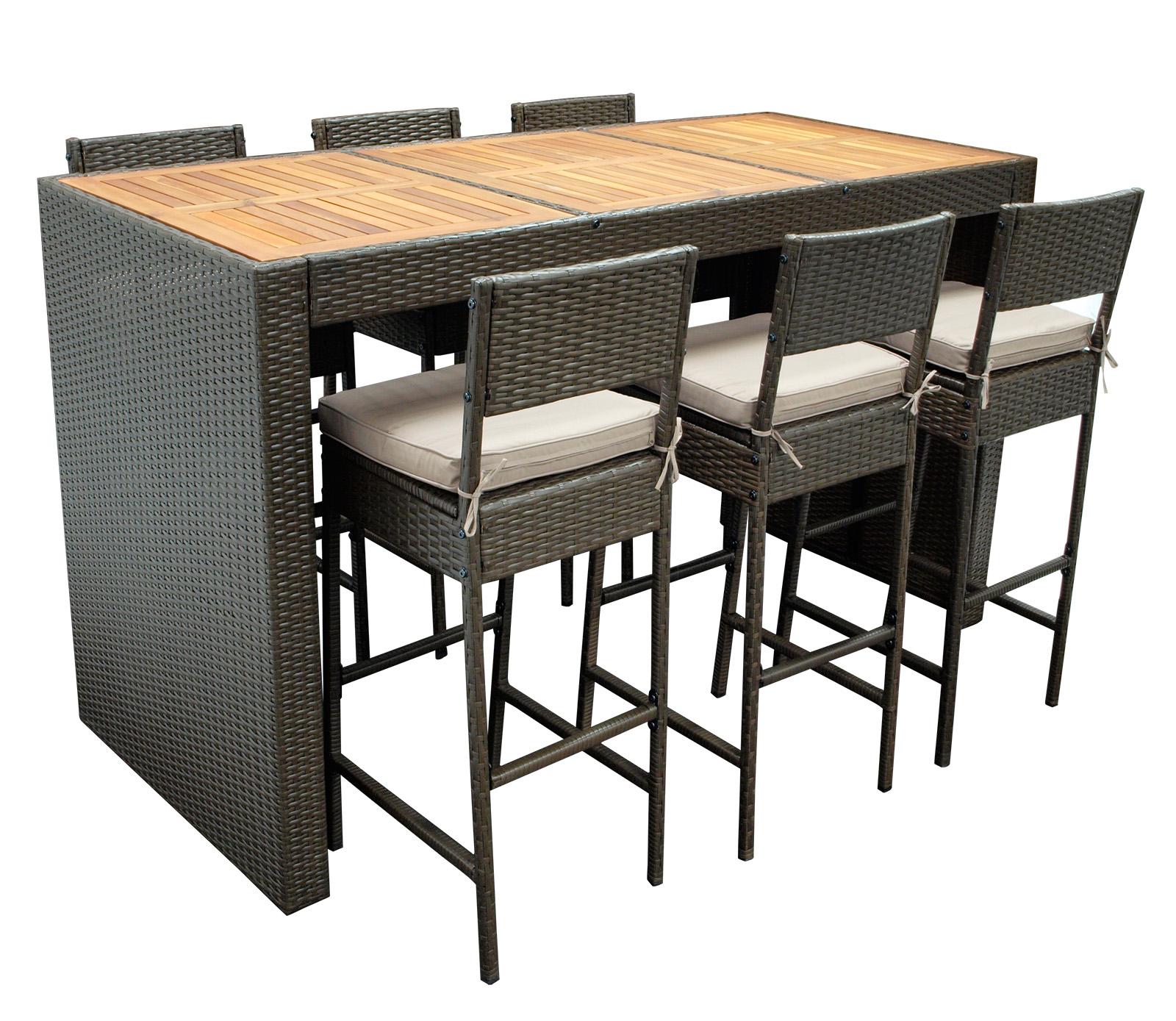 Barset 7 teilig bartisch stehtisch barhocker barstuhl set for Barhocker set mit tisch